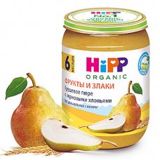 """""""HiPP"""" Pear Puree and cereal flakes 190g (6 month +)"""