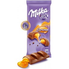 Milk chocolate Milka with Caramel flavor
