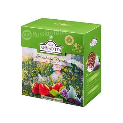 "Ahmad Green Tea ""Strawberry Mousse"" Strawberries & mint"