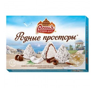 "Sweets ""Rodnyye prostory"" with a delicate filling, coconut taste, covered with chocolate icing and coconut chips"