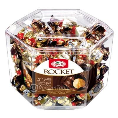 "Milk chocolate Pralines ""Rocket"" with Hazelnut cream and Cereals filling"