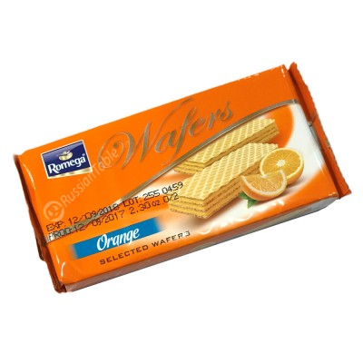 "Crispy wafer ""Romega"" filled with orange cream"