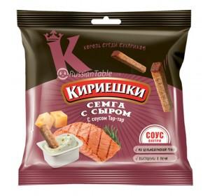 """Croutons """"Kirieshki"""" salmon & cheese"""