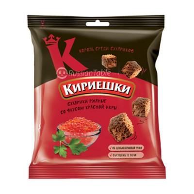 "Rye-wheat croutons ""Kirieshki"" red caviar taste"