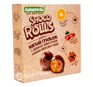 "Sweets ""GALAGANCHA Shoco Rolls"" with Orange, Peanuts and Raisins 135g"