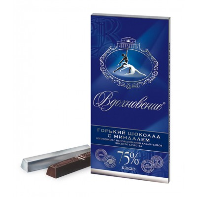 "Imported Russian Chocolate ""Vdohnovenie"" with Almonds 75% cocoa"