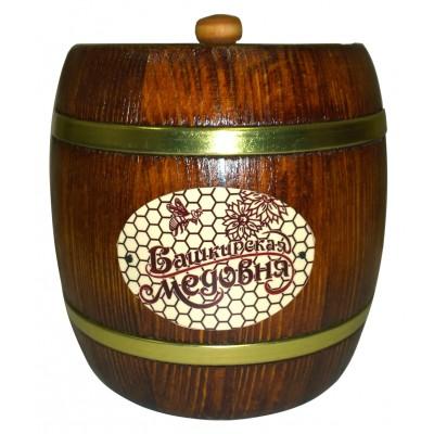 "Honey ""Bashkirskaya medovnya"" in wooden barrel"