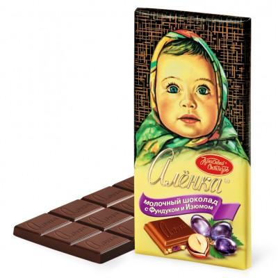 "Milk Chocolate ""Alionka"" with hazelnuts and raisins"
