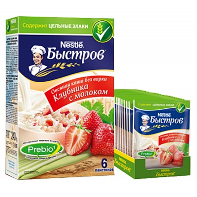 "Oat flakes ""Bistrov"" Strawberry (creamy flavor)"