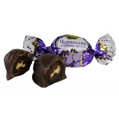 """Candies """"Prunes with walnuts"""" in chocolate glaze """"Russian Drage"""""""