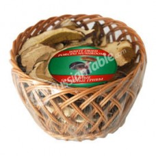 White dried porcini mushrooms in a basket