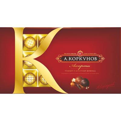 "Assorted candy set ""Korkunov"" Dark and Milk Chocolate with Hazelnuts 256g"