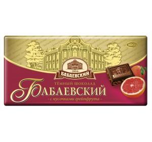 "Chocolate Dark ""Babaevsky"" with Grapefruit pieces 100g"
