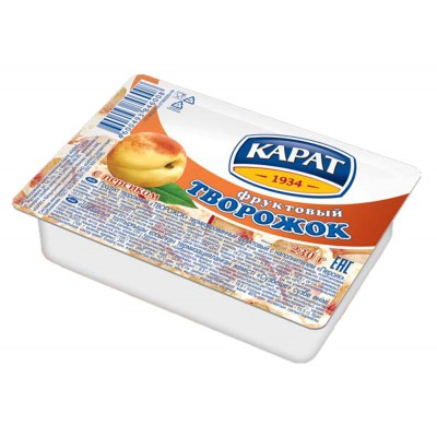 "Dessert cottage cheese ""Carat"" Fruit with peach 230 g"