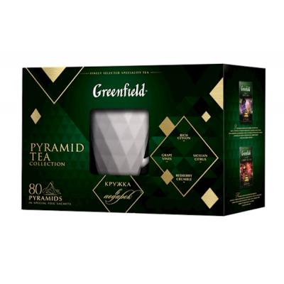 """GREENFIELD"" PYRAMID TEA COLLECTION W/MUG 80 count"