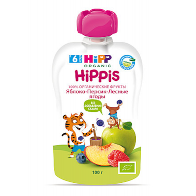 """HiPP"" Apple/Peach/Berries Puree 100g/3.52oz (6 month +)"