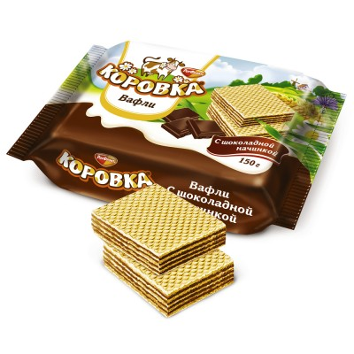 "Imported Russian Wafers ""Korovka"" with Chocolate filling 150 g"