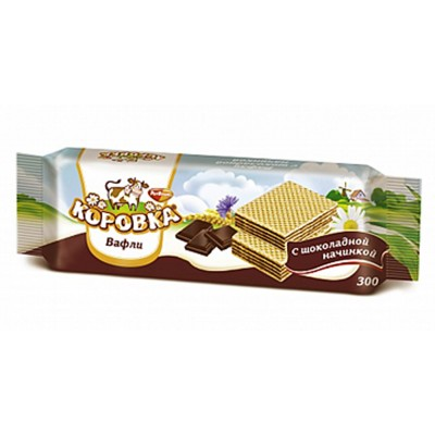 """Imported Russian Wafers """"Korovka"""" with Chocolate filling 300 g"""
