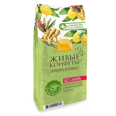 "Marmalade ""Zhyvye Konfety"" Ginger, Orange 170g (Sugar FREE)"