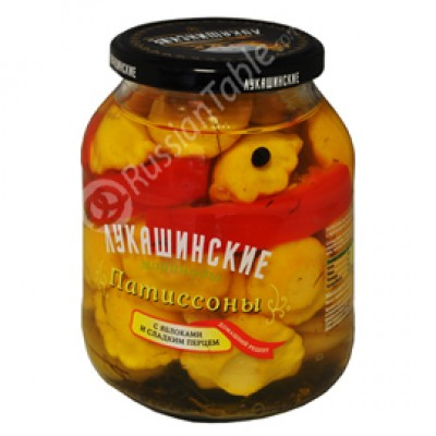 "Patisony (Squash) ""Lukashinskie"" Pickled with Sweet Apples 670g"
