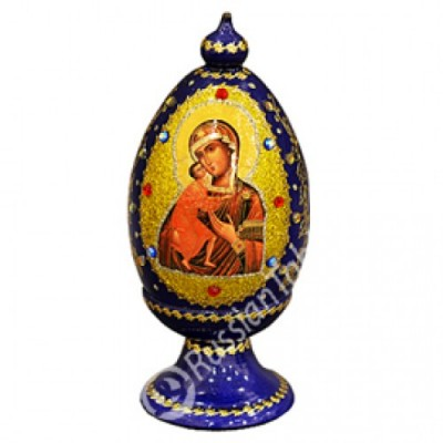 """Wooden Egg"" with natural flower honey w/ icon of Mary"