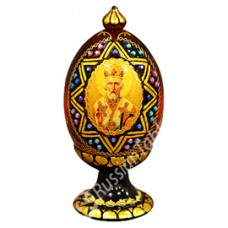 """Wooden Egg"" with natural flower honey w/ Saint Nicholas icon"