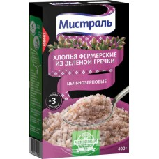 Whole-grain green buckwheat flakes Mistral Fermerskie, 400 g